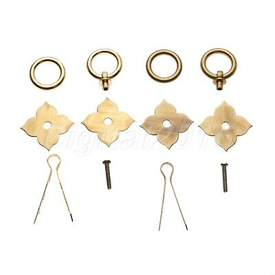 "Chinese Flower 1.89""*1.69"" Retro Bronze Vintage Pull Handles Screw U-Shaped Nail"