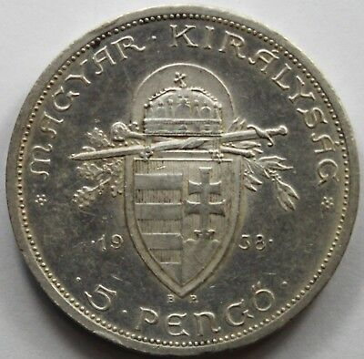 Hungary 1938 Silver 5 Pengo, Extremely Fine