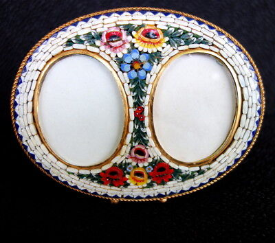Double Micro Mosaic + Brass FRAME with Floral Designs Made in Italy