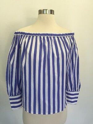 ed8d57de44b COLLECTION THOMAS MASON For Jcrew Off-The-Shoulder Striped Top Blue ...