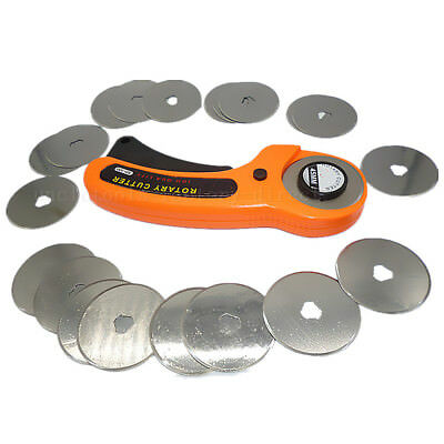 45mm Rotary Cutter Quilters Sewing Quilting Fabric Cutting Craft + 20pcs Blades