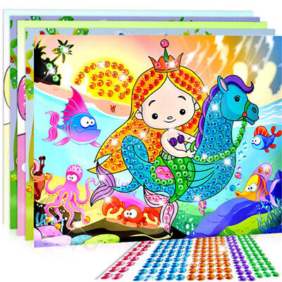 5D Diamond Embroidery Kids Painting Kit Mosaic Learning Puzzles Cartoon DIY FB