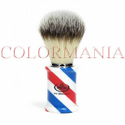 Omega Pennello Da Barba Professionale Barbiere Manico In Resina Barber Pole