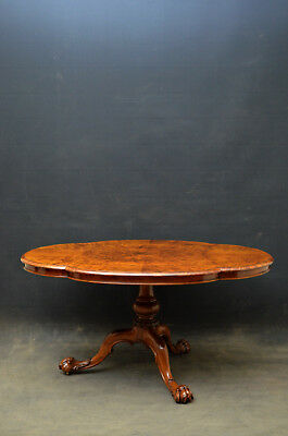 Victorian Burr Walnut Tilt Top Table