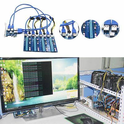 PCI-E 1X to 4 PCIE 16X Slots Riser External Adapter PCI-E Port Card Cable Board