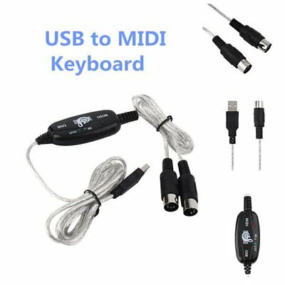 USB IN OUT MIDI Interface Cable Converter PC to Music Keyboard Adapter CordKZ