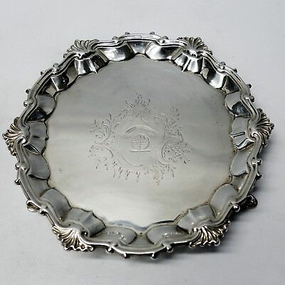 Antique George II Silver Salvers by WILLIAM JUSTIS, London 1753. Stock ID 9098