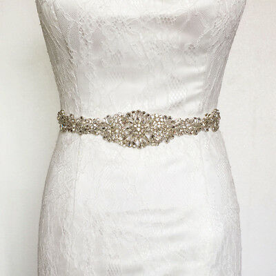 Vintage Rhinestone Crystal Bridal Wedding Sash Dress Waist Belt Ribbon Waistband
