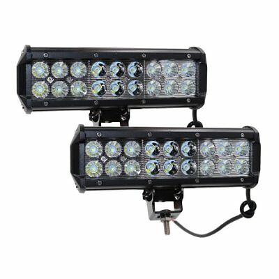 Pair 10inch108w LED Light Bar Flood Beam SUV Offroad 4WD Work Driving Lamps