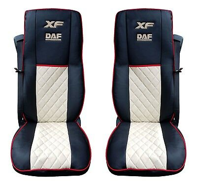 Eco Leather Seat Covers for DAF XF 106 Black / Beige color