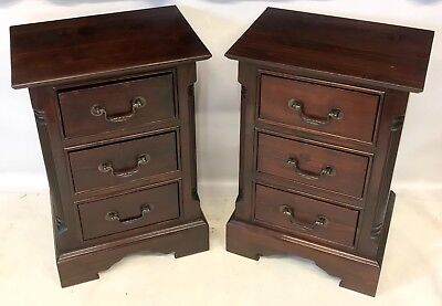 PAIR Antique Style Rustic Dark Wood Bedside Cabinets Pot Cupboards Lamp Stands