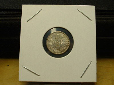 1874 Sweden 10 Ore Silver Choice Uncirculated Coin! Clashed Dies!! Nice!!