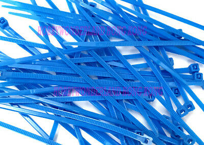 "1000 pcs 4"" Inch NYLON 66 (UL) 3 x 100mm Blue Color Cable Zip Tie Fastern Wrap"
