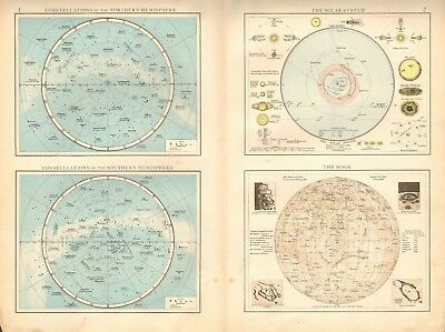 1900 Antique Map- Constellations, North&south, Solar System, Moon