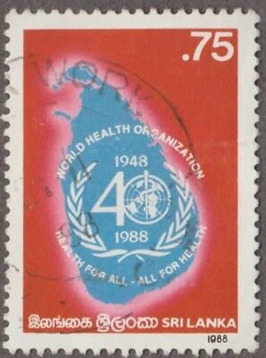 Sri Lanka The 40th Anniversary W H O - 0.75 Issued 1988 Postage Used Stamp