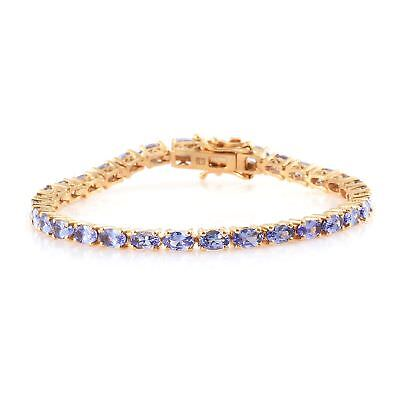 "Tanzanite 14K Yellow Gold Over Sterling Silver Tennis Bracelet 6.5"" 8 cttw"