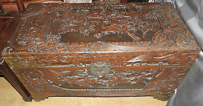 Richly Carved Oriental Camphor Chest, Decorated with Battle Scenes, 88cm Wide