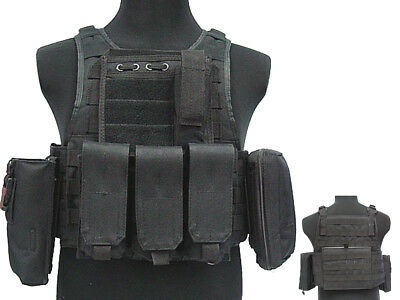 Tactical 027 Molle Combat Vest Magazine Pouch Airsoft Paintball Military BK