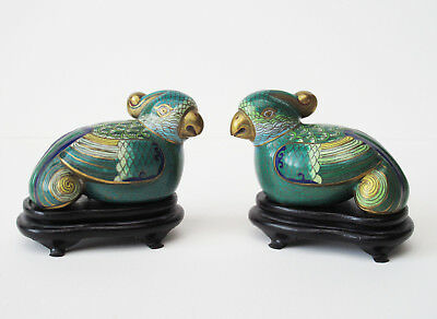 ANTIQUE CHINESE CLOISONNE ENAMEL GOLD GILT BIRD FIGURINES Statues