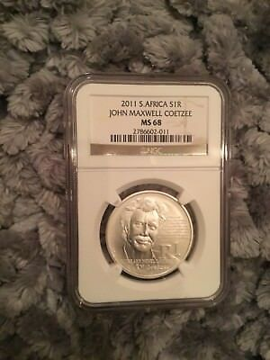 South Africa 2011 Silver Commemorative R1 John Maxwell Coetzee NGC MS68