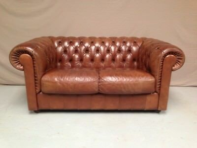 Canape Chesterfield Marron Clair 2 Pl