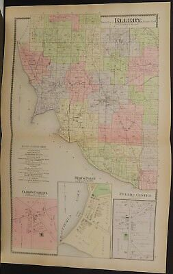 New York Chautauqua County Map Ellery Township 1881 Double Side/Page  L19#39