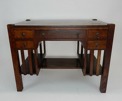 Antique Mission Arts and Crafts Library Desk with side shelves 38.25 inches