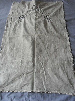 Beautiful Antique Hand-Embroidered Table Runner With Handmade Lace