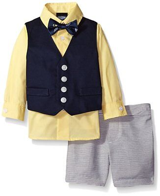 Nautica Boys' Bow Tie Vest Shirt and Short Set Blue Yellow Size 7 NWT