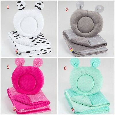 2 pc BABY MINKY blanket + pillow SET soft for crib cot bedding PILLOW WITH EARS
