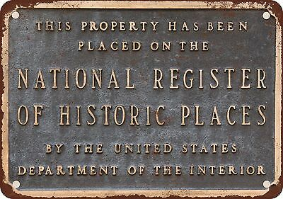 """7"""" x 10"""" Metal Sign - National Register of Historic Places - Vintage Look Reprod"""