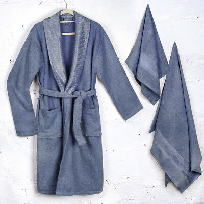 Bathrobe & Towels Gift Box Navy Soft Thick Durable 100% Cotton Made in Turkey