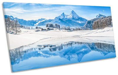 Winter Alps Mountain Snow Picture PANORAMIC CANVAS WALL ART Print