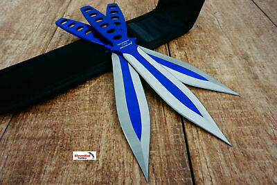 "9"" 3 pcs set two tone blue throwing knife"