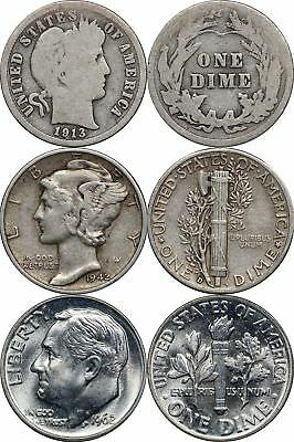 1892 - 1964 Silver Dime Type Set - Barber, Mercury, Roosevelt 10c, 3 Coin Lot