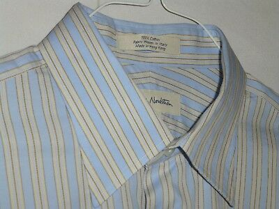 $125 16x33 JWN Baby Blue White Striped French Dress Shirt ITALY e41 Nordstrom