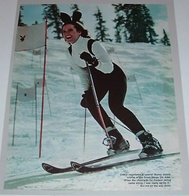 Vintage Cheryl Tiegs Playboy Bunny Skiing & Cher at Playboy Club Magazine Page