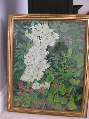 original oil and acrylic painting of a hedgerow with old man's tobacco