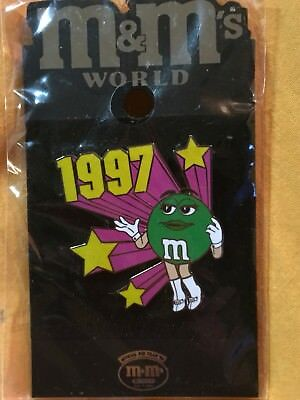 HTF M&M M&Ms World Pin Retro 1997 Ms Green Female Character Sealed On Card MINT