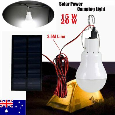 15W 20W Portable Solar Power Panel LED Bulb Light Outdoor Emergency Camping Lamp
