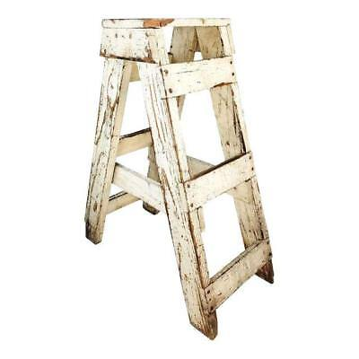 Antique Primitive Farmhouse Country Kitchen White Wood Stool Plant Stand Ladder
