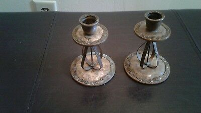 Antique Candle Holders with embroidered grave side seen in base of holders very