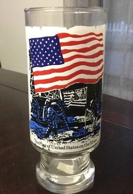 1976 National Flag Foundation Glass - The Flag Of The United States On The Moon