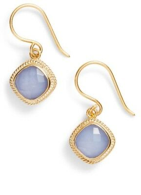 NWT Anna Beck Earrings blue chalcedony Sterling Silver 18K Gold Plating