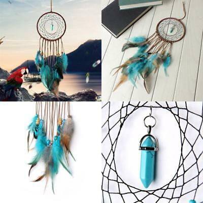 Large Blue Dream Catcher Wall Hanging Decoration Ornament Handmade Feather Craft