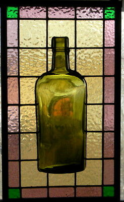 Stained Glass Panel with Antique Whiskey Bottle