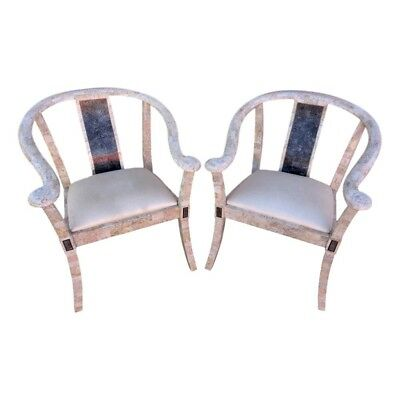 Vintage Pair Maitland Smith Tessellated Stone Horseshoe Arm Chairs Ming Asian