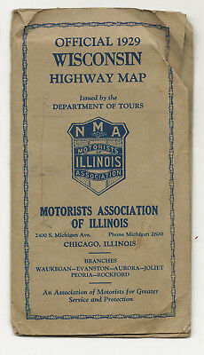 WISCONSIN Map,  National Motorists Association, Clason HUGE FOLDOUT, 1929