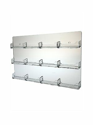 15 pocket business card holder clear acrylic horizontal wall mount marketing holders 12 pocket clear business card holder acrylic horizontal wall m colourmoves