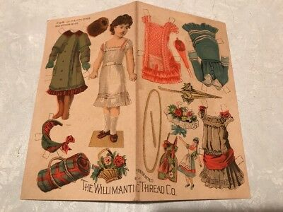 Willimantic Thread Girl Paper Doll 4 Outfits Accessories Victorian Trade Card